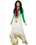 White/Green Color Oval Shape Cut Churidar Suit