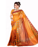 Golden Yellow Color Cotton Chanderi Saree