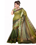 Mehendi Green Color Cotton Chanderi Saree