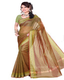 Olive Color Cotton Chanderi Saree
