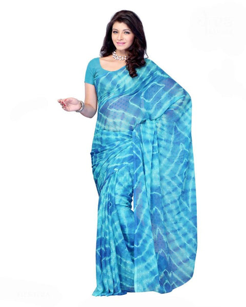Turquise Color Bandhni Saree