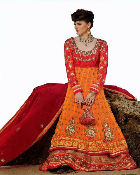 Ethnic Designer Burn Orange Color Long Length Suit