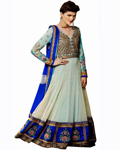 Ethnic Designer Sky Blue Color Long Length Suit