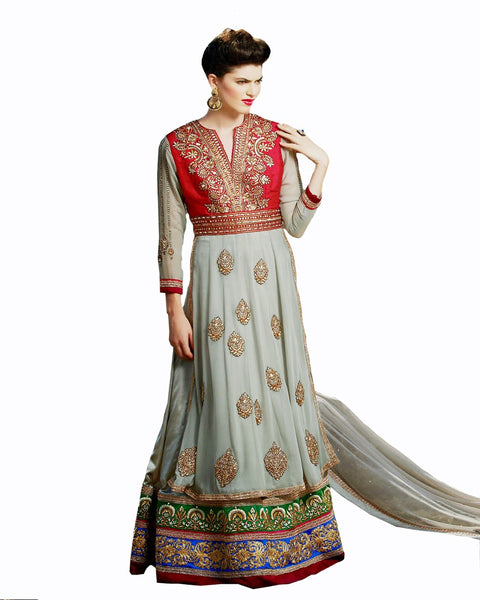 Ethnic Designer Grey Color Long Length Suit