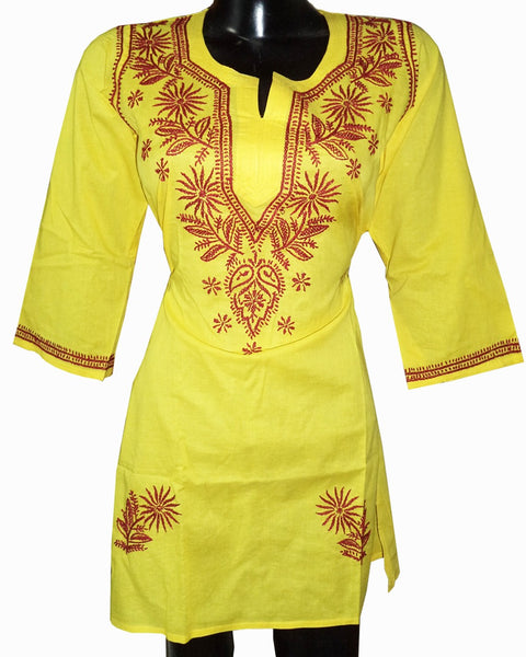 Yellow Color Chikankari Cotton Kurti