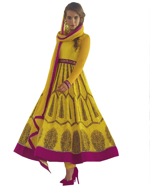 Stylish Yellow Color Anarkali Suit
