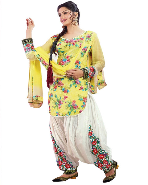 Yellow Color Cotton Patiala Suit