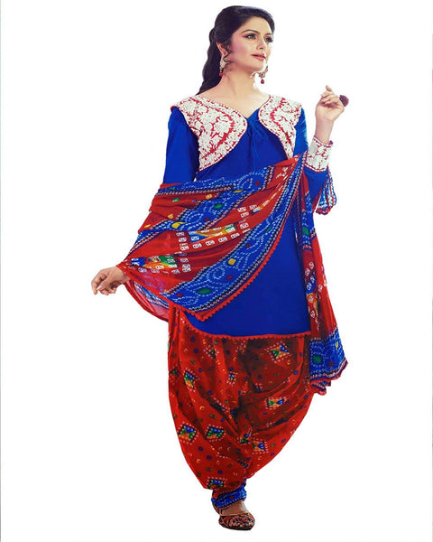 Red/Blue Color Cotton Patiala Suit