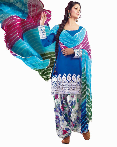 Blue Color Cotton Patiala Suit