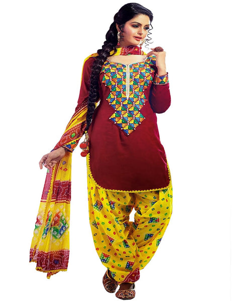 Maroon/Yellow Color Cotton Patiala Suit
