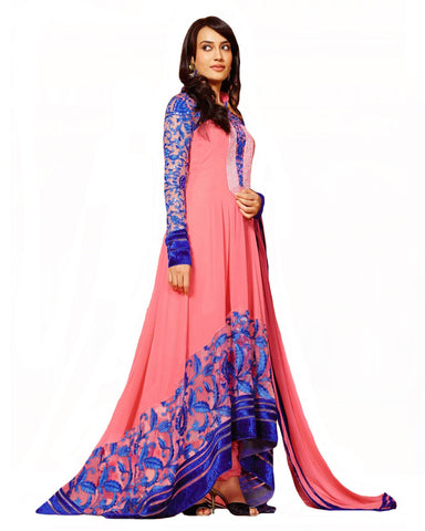 Designer Peach Color Long Length Suit