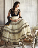 Designer Off white/Black Color Anarkali Suit