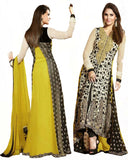 Yellow/Black Color Long Length pakistani Suit