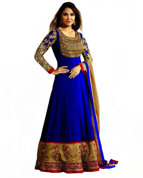 Royal Blue Color Floor Length Suit