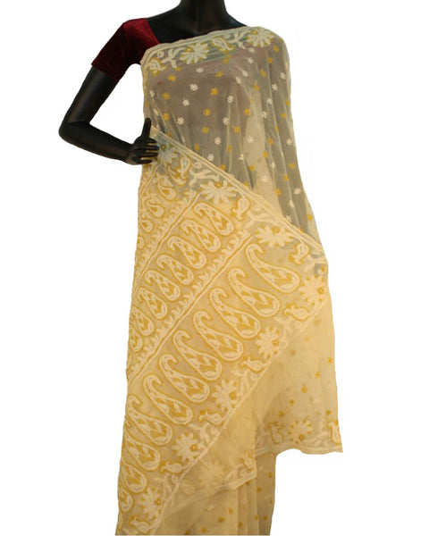 Cream Color Chikan Embroidered Saree