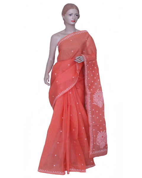 Carrot Color Chikan Embroidered Saree