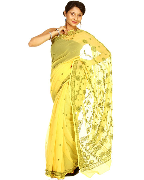Yellow Color Chikan Embroidered Saree