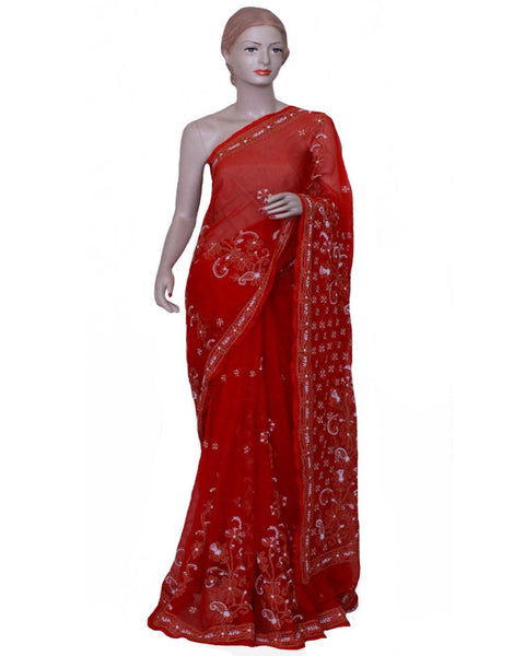 Red Color Chikan Embroidered Saree