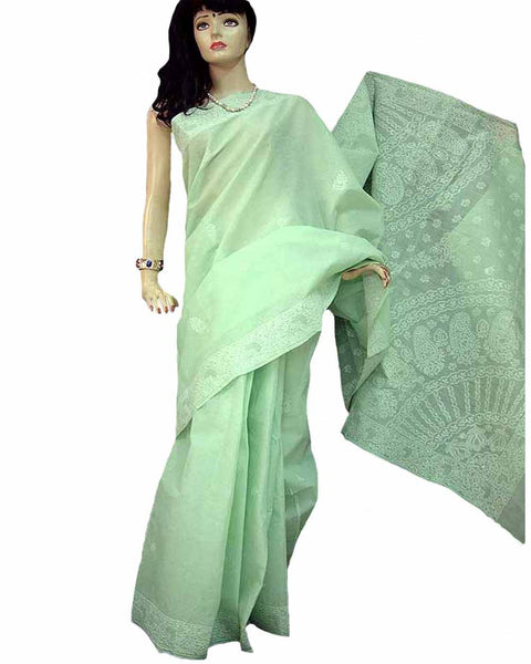 Pista Green Color Chikan Embroidered Saree
