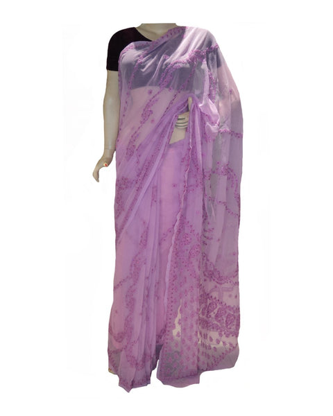 Purple Color Chikan Embroidered Saree