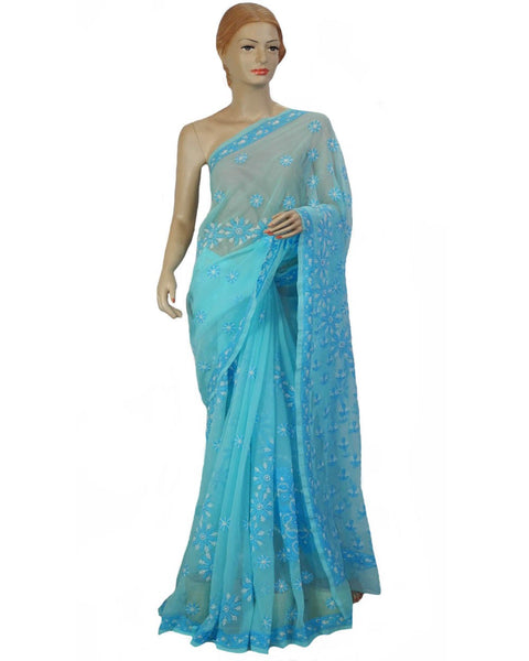 Blue Color Chikan Embroidered Saree