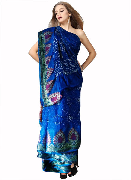 Deep Blue Color Bandhni Saree