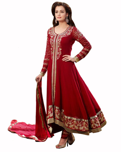 Bollywood Red Color Long Length Pakistani Suit