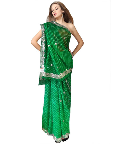 Green Color Gota Patti Tie & Dye Saree