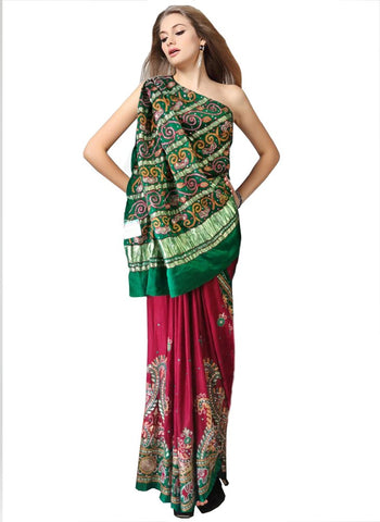 Green/Red Color Gharchola Saree