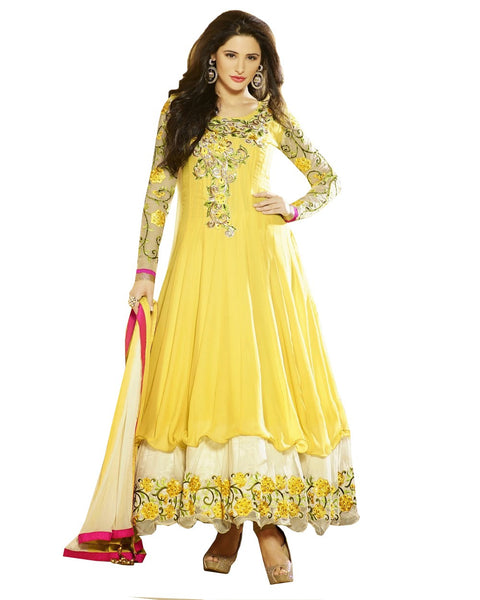 Designer Light Yellow Color Heavy Anarkali Suit