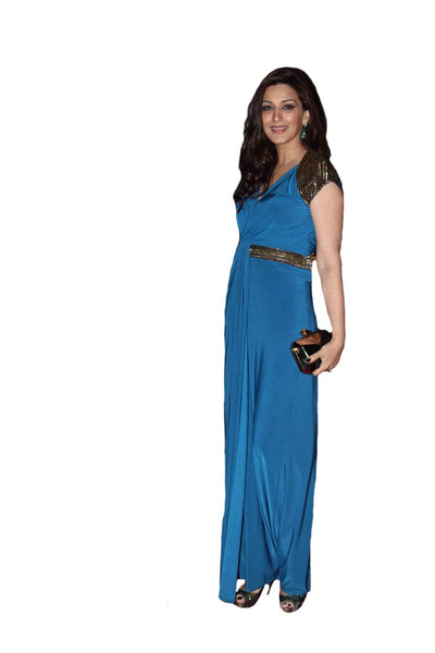 Bollywood Sonali Bendre in Long Blue Dress