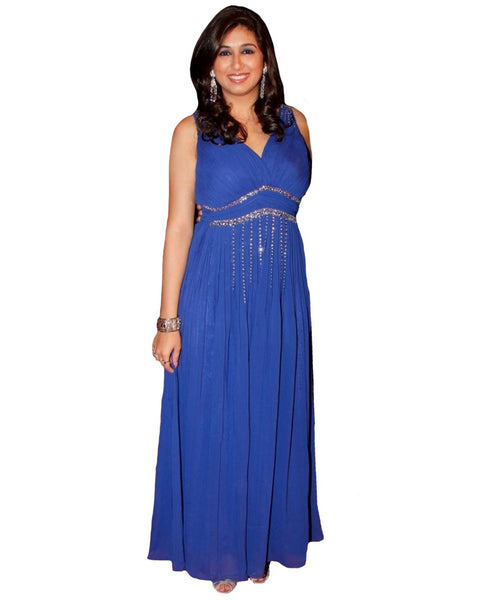 Bollywood Celebrity in Royal Blue Color Long Dress