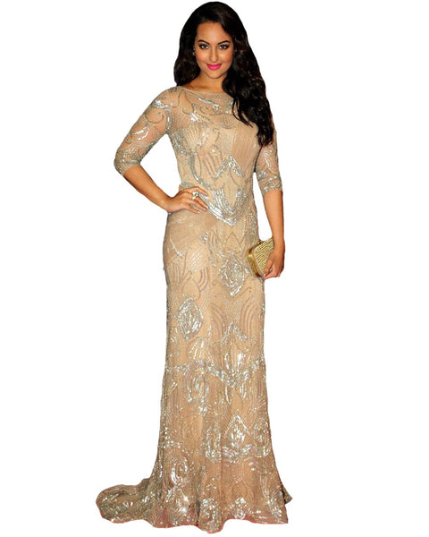 Bollywood Sonakshi in Fawn Color Long Dress