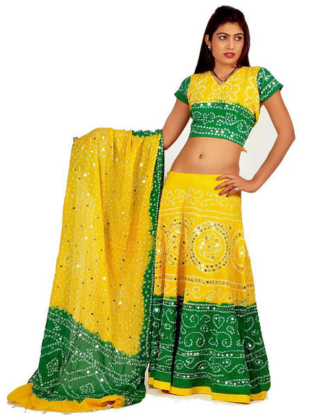 Yellow/Green Color Bandhej Chania Choli