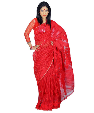 Traditional Red Jamdani Saree