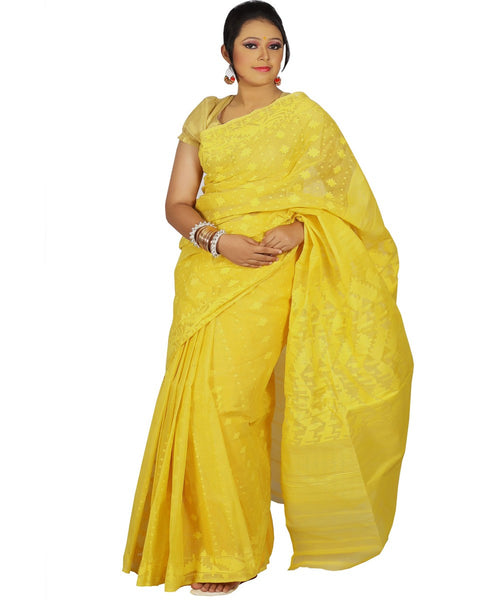 Traditional Yellow Jamdani Saree