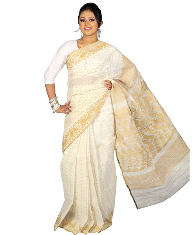 Traditional Cream Jamdani Saree