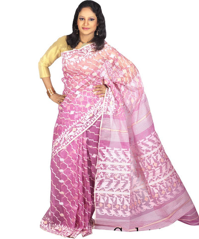 Traditional Onion Color Jamdani Saree