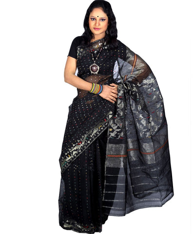 Traditional Black Jamdani Saree