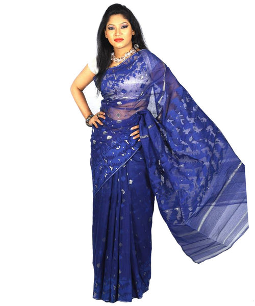 Traditional Deep Blue Jamdani Saree