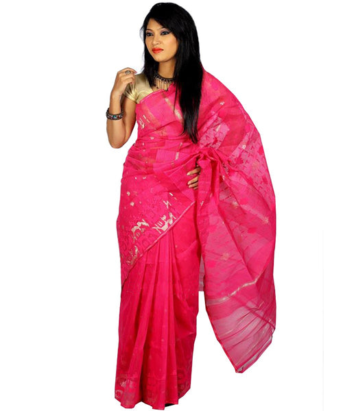 Traditional Fuchsia Jamdani Saree