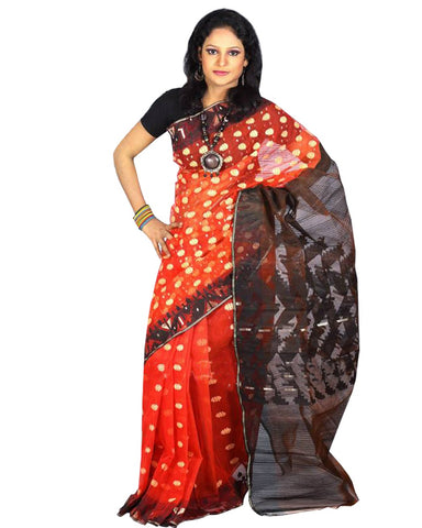 Traditional Deep Orange Jamdani Saree