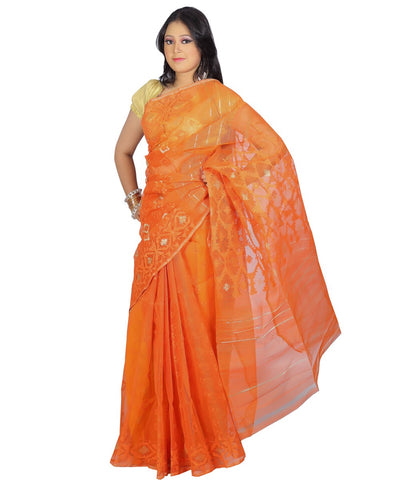 Traditional Orange Jamdani Saree