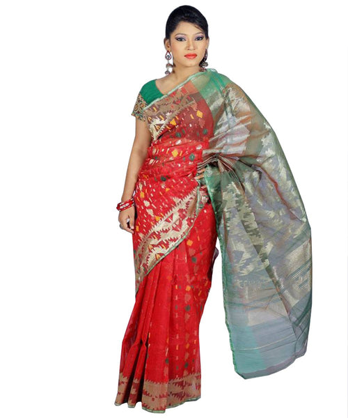 Traditional Red/Green Jamdani Saree