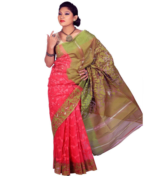 Traditional Pink/Mehandi Jamdani Saree