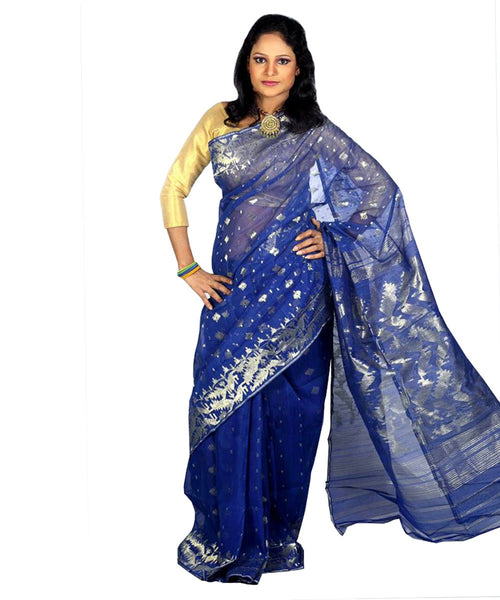 Traditional Royal Blue Jamdani Saree
