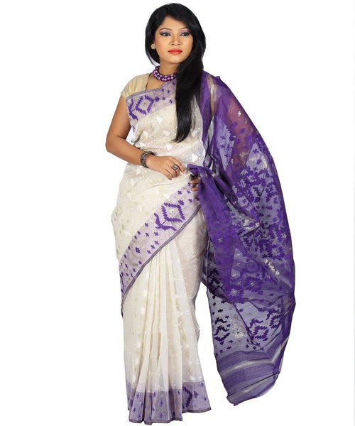 Traditional Off White/Purple Jamdani Saree