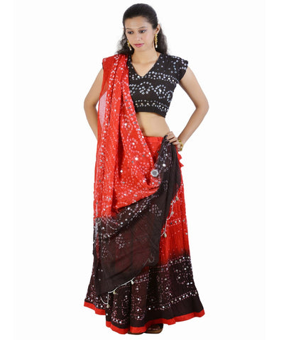 Red/Black Bandhej Chania Choli