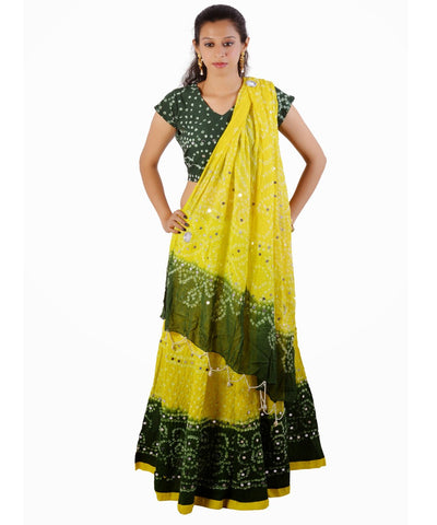 Yellow/Green Bandhej Chania Choli