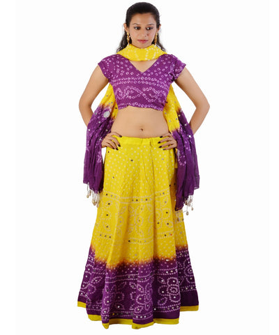 Yellow/Purple Bandhej Chania Choli